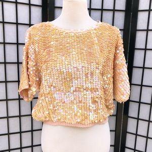 Tops - Vintage Pink Iridescent Sequins Short Sweater Top